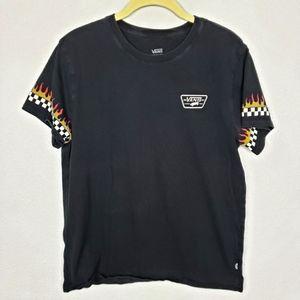 Vans flame checker black tshirt M